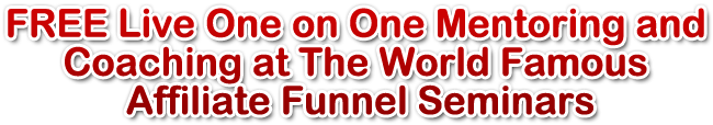FREE Live One on One Mentoring and Coaching at The World Famous Affiliate Funnel Seminars